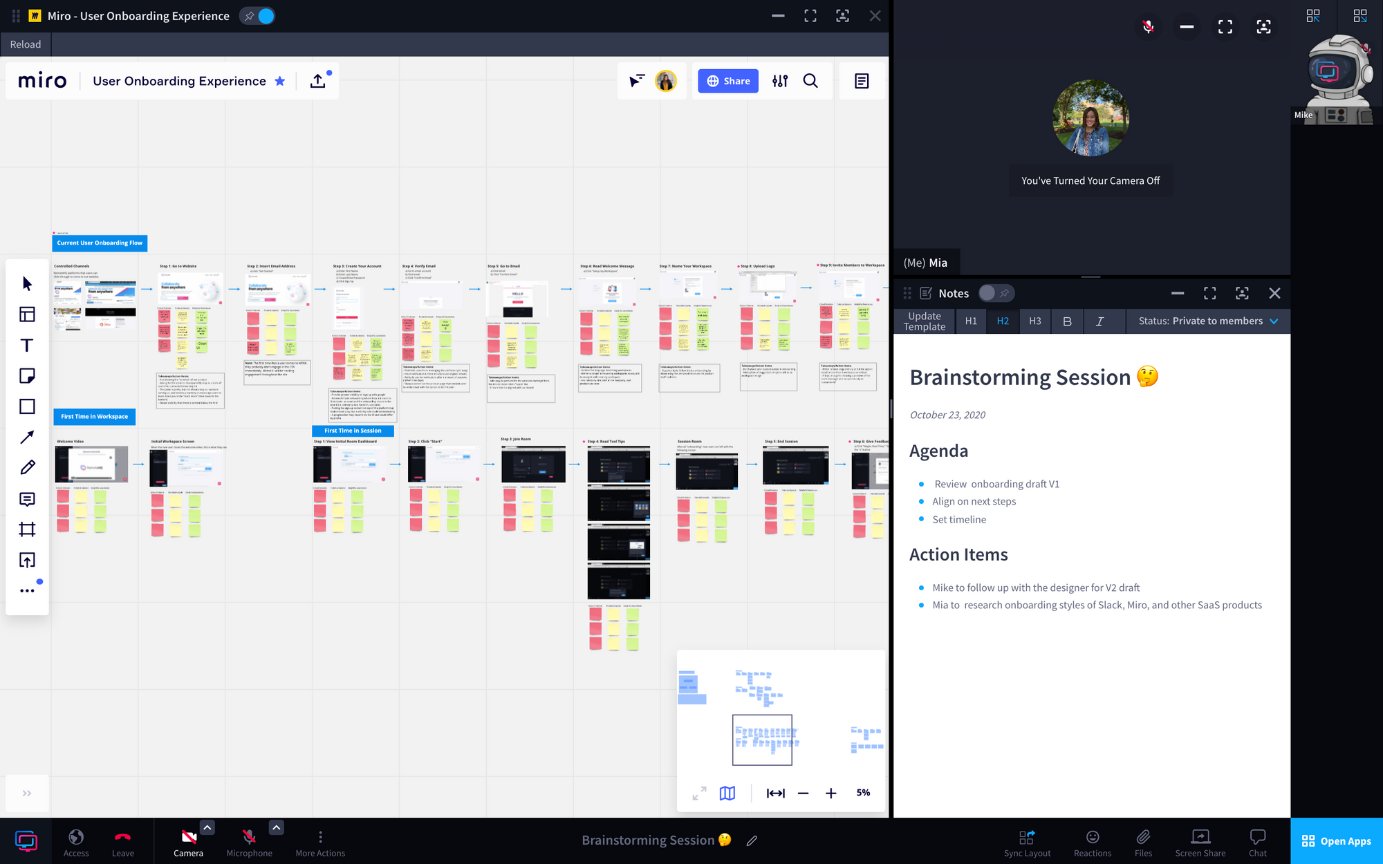 Image of Miro and Notes being leveraged in a RemoteHQ session.